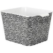 "Whitmor Graphic Plastic Tote 15"" x 13"" x 10"", Zebra"