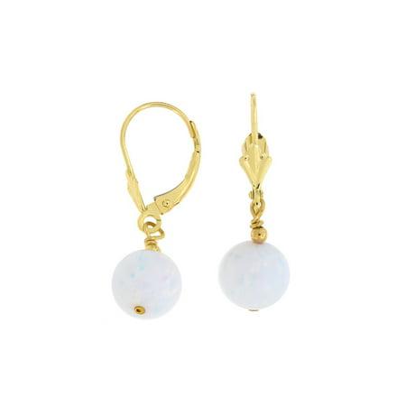 14k Yellow Gold Diamond Cut 8mm Simulated White Opal Dangle Earrings