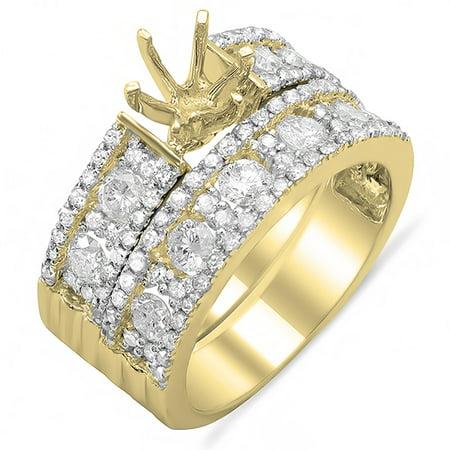 - 1.33 Carat (ctw) 18K Yellow Gold Round Cut Diamond Ladies Engagement Semi Mount Bridal Ring Set 1 1/3 CT (No Center Ston