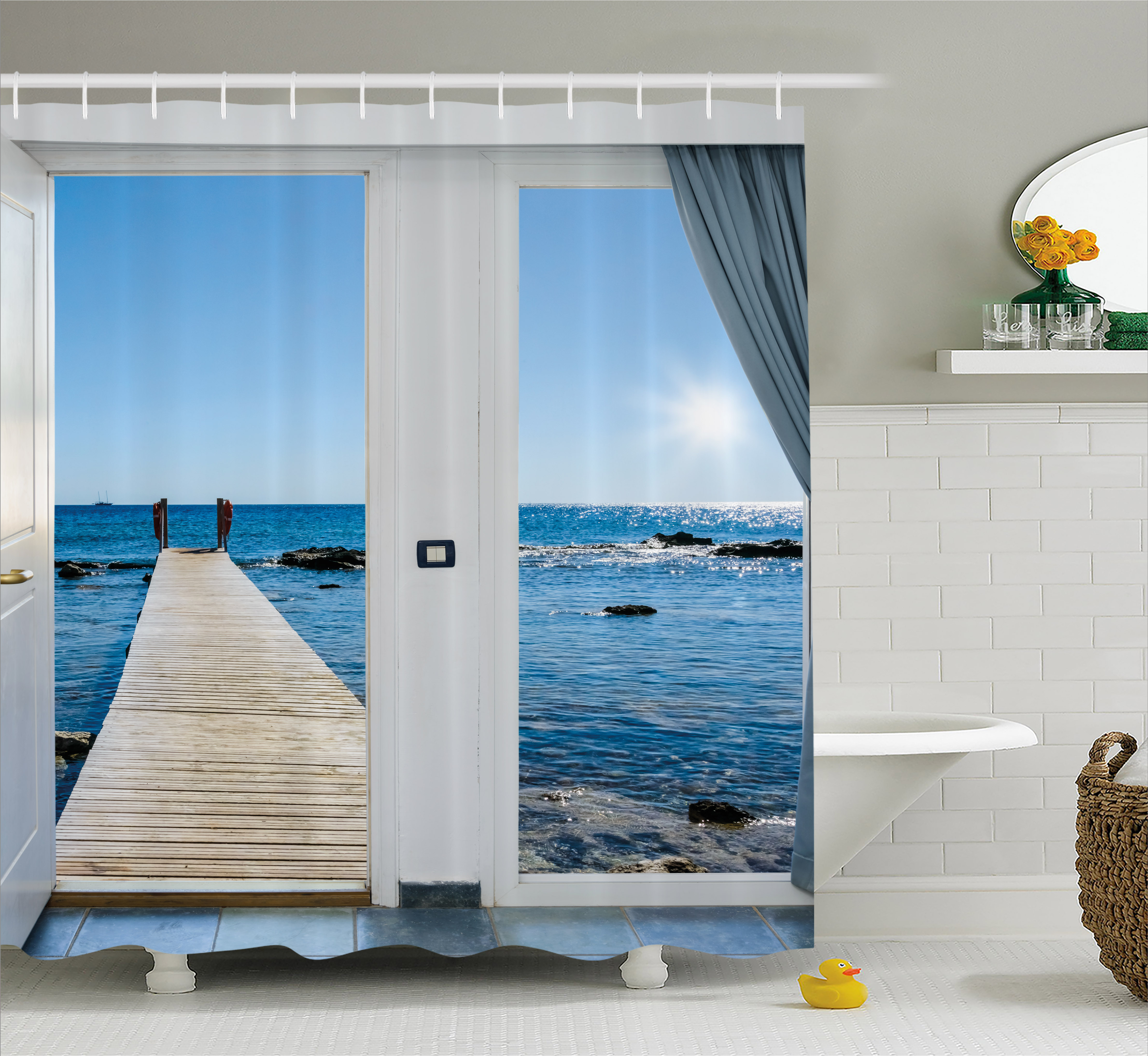 Beach Shower Curtain, Coastal Theme With The Ocean Sea Sunny Day Scenery  With Patio From