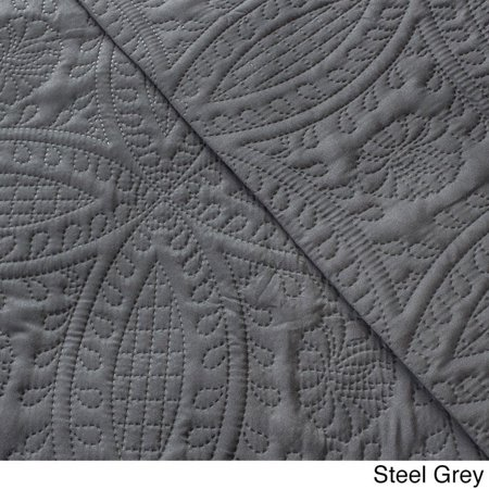 Fashionable Solid 3-piece Quilt Set Full/ Queen, Steel Grey ()