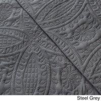 Fashionable Solid 3-piece Quilt Set Full/ Queen, Steel Grey