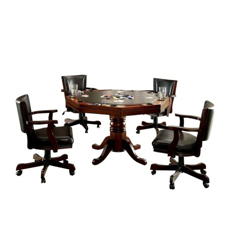 Furniture of America Deaton 5 Piece Gaming Table Set in Cherry Cherry Dining Room Sets