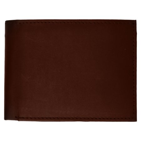 Mens Authentic Leather Regular Bifold Wallet with Flap ID Window 53 CF (C) Black ()