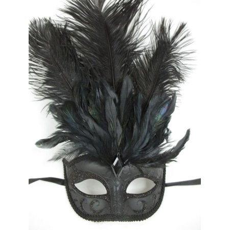 Black Marquis Jewel Venetian Feather Masquerade Mardi Gras Mask