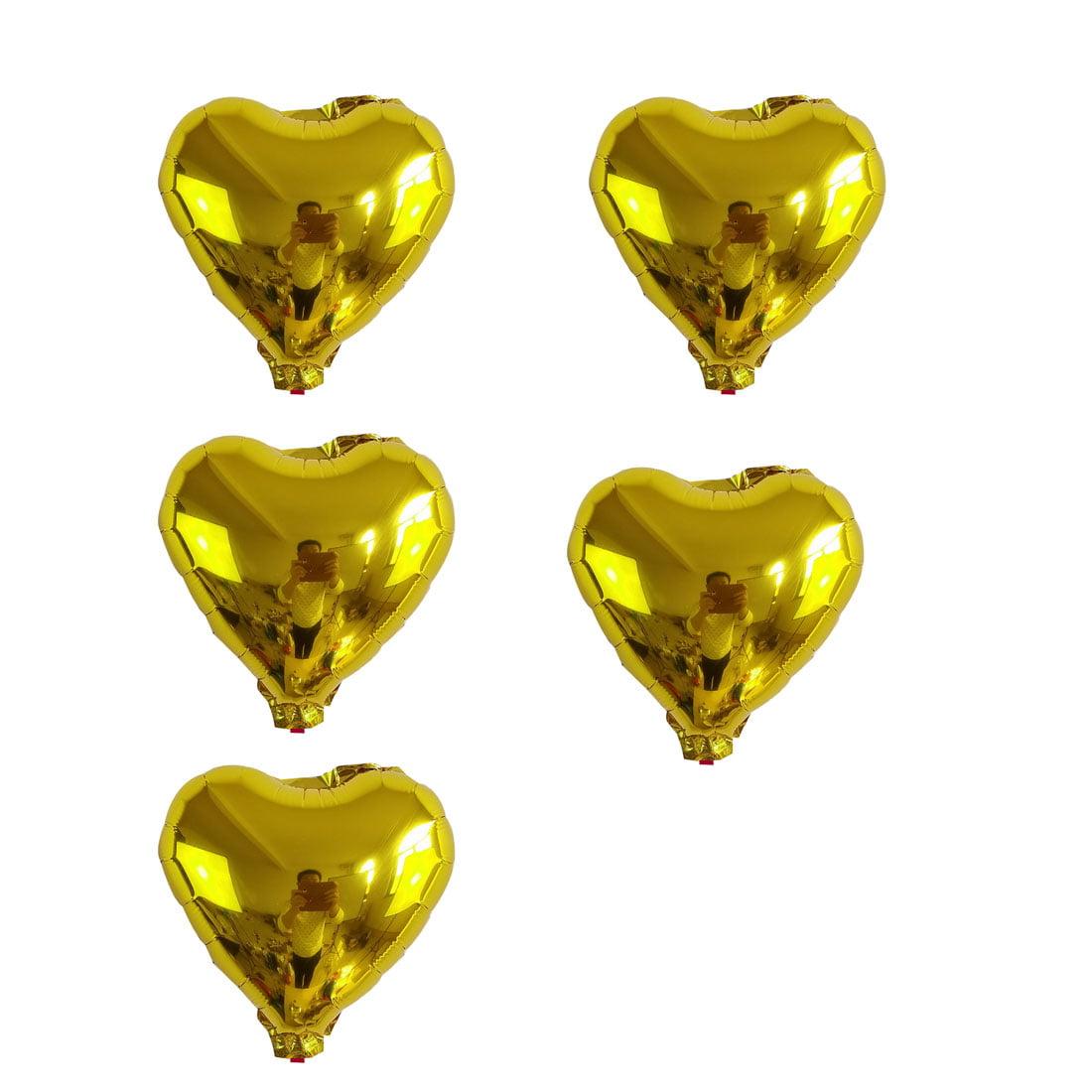 Unique Bargains Foil Heart Shape Balloon Birthday Wedding Decor Gold Tone 5 Inches 5 Pcs