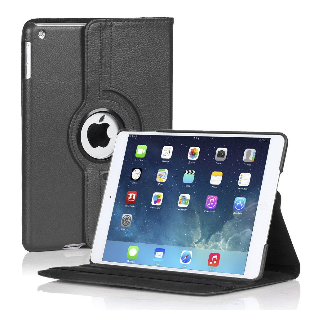 iPad Mini 4 Rotating Case (Black) 360 Degree Stand Smart Cover Flip Protective PU Leather For Apple iPad Mini 4 2015 Release,  Multi Viewing Angles, Auto Sleep & Wake Feature & Stylus Holder