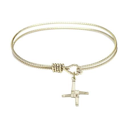 7 1 4 Inch Oval Eye Hook Bangle Bracelet W  St  Brigid Cross Charm Gold Filled Medal
