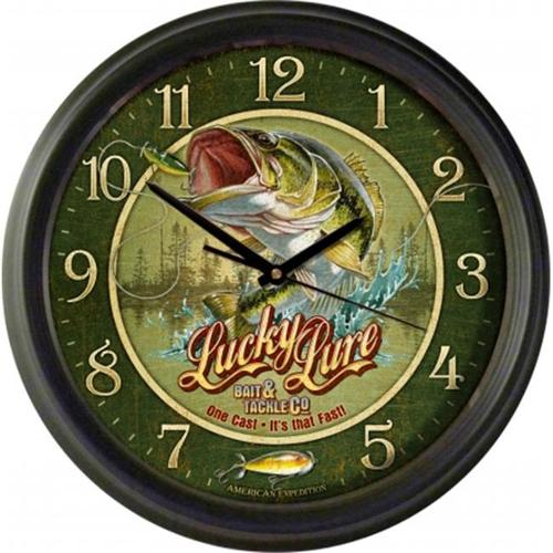 Ideaman WCLK-411 16 inch Wall Clock, Lucky Lure Bait & Tackle