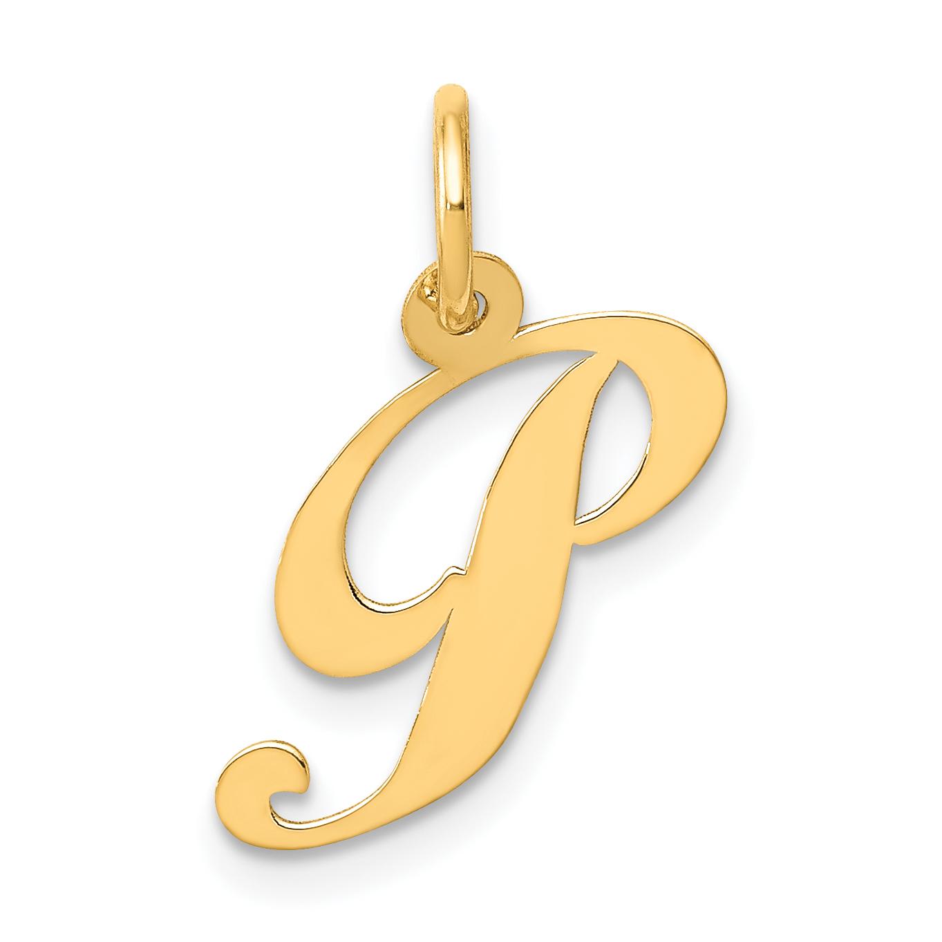 Jewel Tie 14k Yellow Gold Initial P Pendant Charm