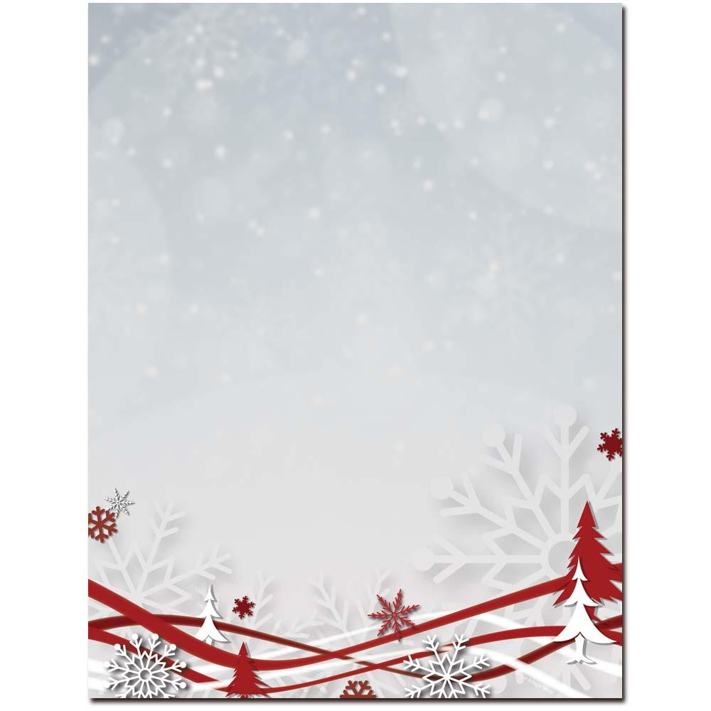 Snowflakes & Ribbons Letterhead Laser & Inkjet Printer Paper
