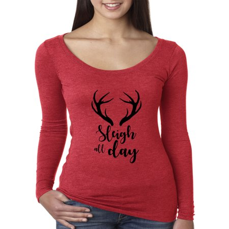 d4ab5d25 New Way - New Way 998 - Women's Long Sleeve T-Shirt Sleigh All Day Christmas  Reindeer Antlers 2XL Red - Walmart.com