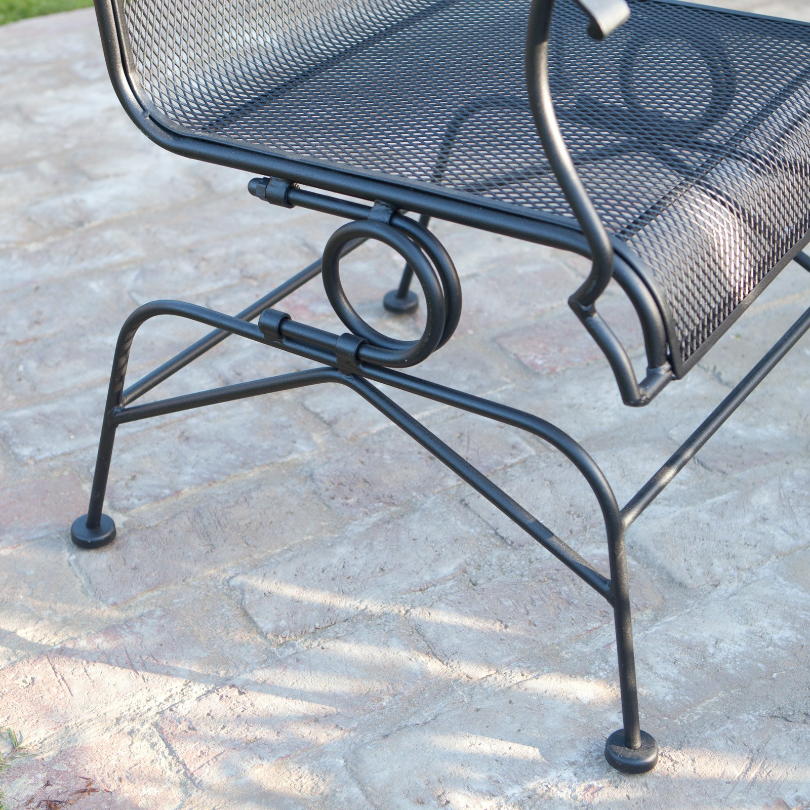 Belham Living Stanton Wrought Iron Coil Spring Dining Chair By Woodard Set Of 2 Textured Black