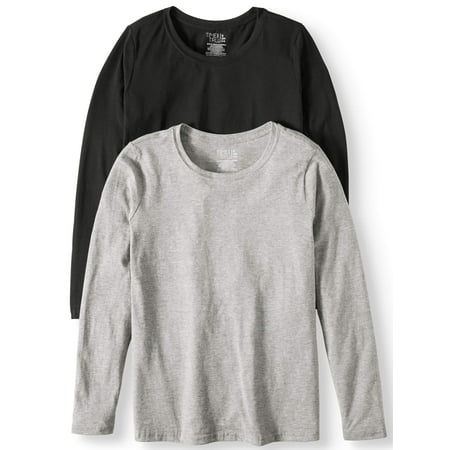 bbc7efef Time and Tru - Women's Long Sleeve Crewneck T-Shirt, 2 Pk Bundle -  Walmart.com