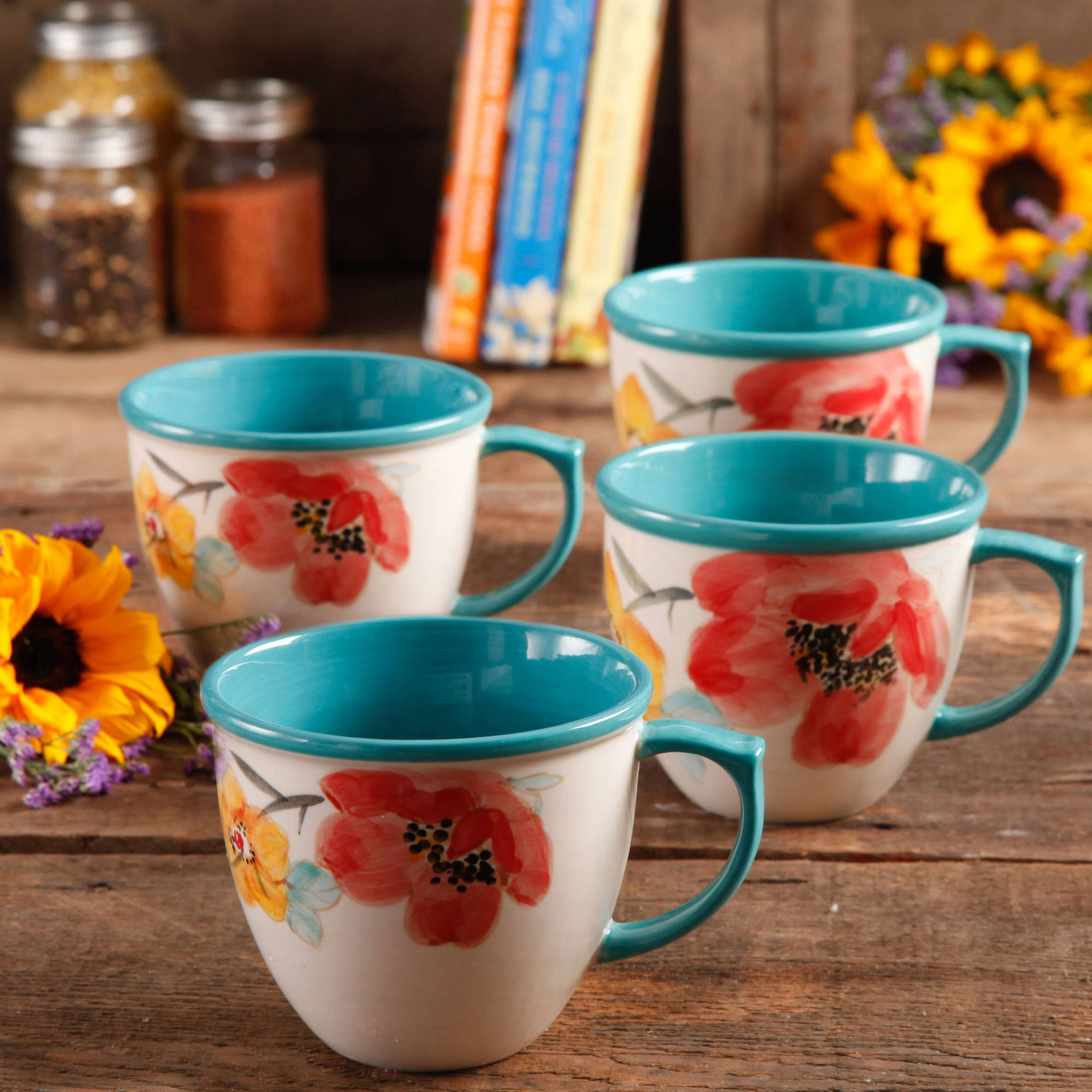 The Pioneer Women Flea Market 16 oz Decorated Coffee Cup, Floral Turquoise, Set of 4