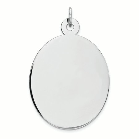 Sterling Silver Engravable Oval Polished Front and Satin Back Disc Charm