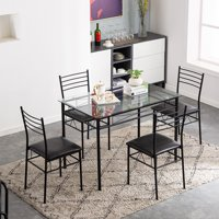 5 Piece Dining Room Table Sets, Iron Dining table set with 4 Chairs, Black Kitchen Table Set, Heavy-Duty Tempered Glass Table & Softly Seat, Breakfast Furniture for Living Dining Room, Black, W8557