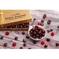 Andy Anand California Dark Chocolate Covered Cherries 1 LB & Handwritten Greeting Card for Birthday, Anniversary Gourmet Christmas Holiday
