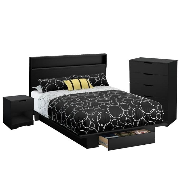 4 Piece Bedroom Set with Dresser, Nightstand, Full/Queen Headboard, and Full/Queen Platform Bed in Pure Black