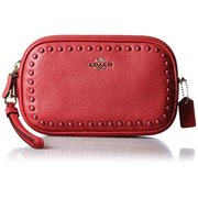 coach women's lacquer rivets crossbody clutch red currant clutch by