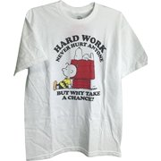 Charlie Brown Snoopy Hard Work Never Hurt Anyone But Why Take a Chance Adult T-Shirt (Small) by