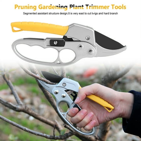 Hand-protective 8'' Ratcheting Pruning Shears Cutter for Garden Plant Fruit Tree Scissor Branch Pruner Trimmer Tool