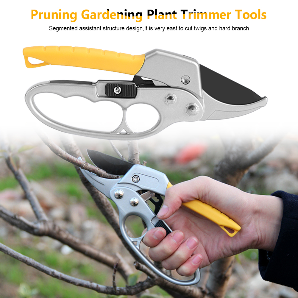 Hand-protective 8'' Ratcheting Pruning Shears Cutter for Garden Plant Fruit Tree Scissor Branch Pruner Trimmer Tool Gardening