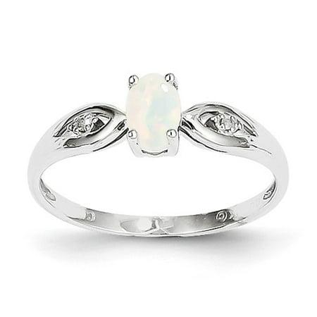 14k White Gold 6x4 Oval Genuine Opal Diamond Ring. Gem Wt- 0.25ct