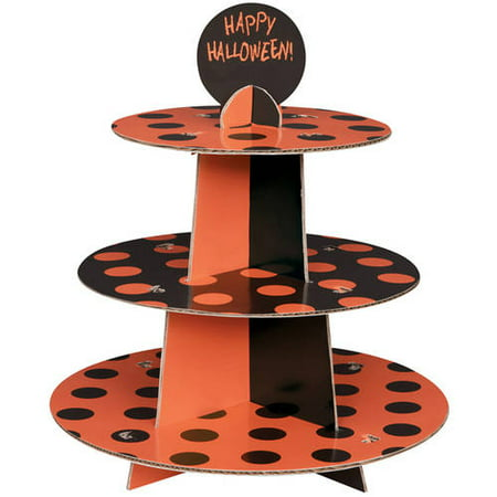 Orange and Black Polka Dot Halloween Cupcake Stand - Scary Halloween Cupcakes