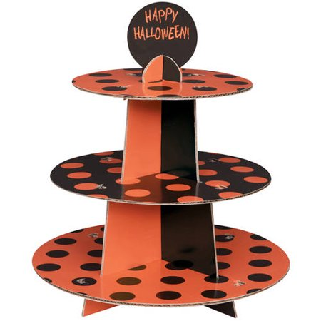 Orange and Black Polka Dot Halloween Cupcake Stand](Satan Birthday Halloween)