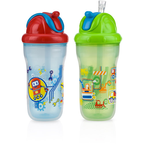 Nuby 2-Pack 9-oz Insulated Flip-It Cup, Boy, BPA-Free