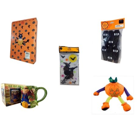 Halloween Fun Gift Bundle [5 Piece] -  Cat Pumpkin Push In 5 Piece Head Arms Legs - Tombstone Containers Party Favors 6 Count - Gel Clings Witch, Bats, Stars - Earthenware Scarecrow & Harvest Design for $<!---->