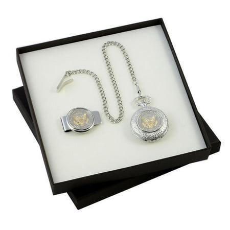 Presidential Seal Half Dollar Coin Money Clip & Pocket Watch Gift Set