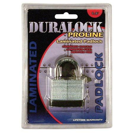 Tubular Cylinder Padlock (Duralock Pro-line | 5-pin Solid Brass Cylinder | Body Galvanized, Laminated, Zinc-plated Plates | Hardened and Chromed Shackle | 1 Lock with 2 Sold Brass Chromed Keys | Life Time Warranty | )
