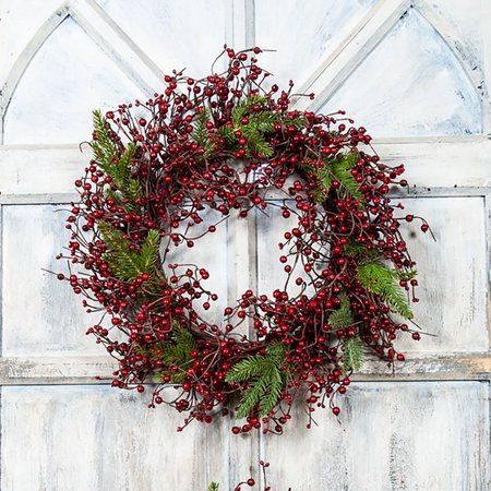 Large Mixed Berry Wreath with Fir Branches By KMI International ()