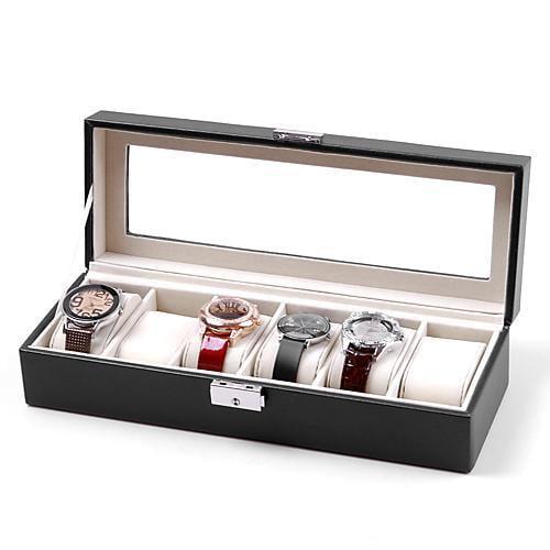 6 Watch Leather Box Plastic Top Display Lockable Jewelry Storage Organizer Case Caroj - image 2 of 5