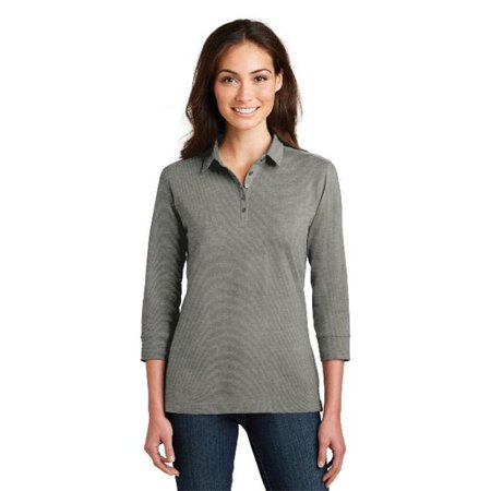 L578 Ladies 3 by 4-Sleeve Meridian Cotton Blend Polo T-Shirt, Monument Grey - (Meridian Tee)