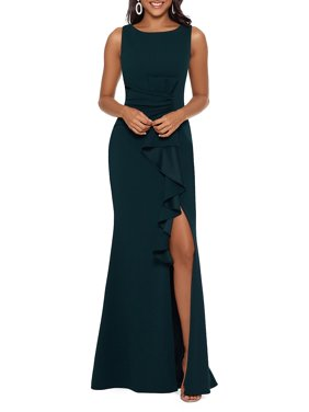 Ruched Ruffled Leg Slit Evening Gown