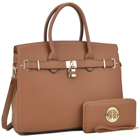 Dasein  Padlock Satchel Handbag with Matching Wallet