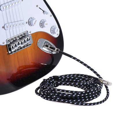 Cort Electric Bass (ammoon 6 Meters/ 20 Feet Electric Guitar Bass Musical Instrument Cable Cord 1/4 Inch Straight to Right Angle Plug Black White Woven Jacket )