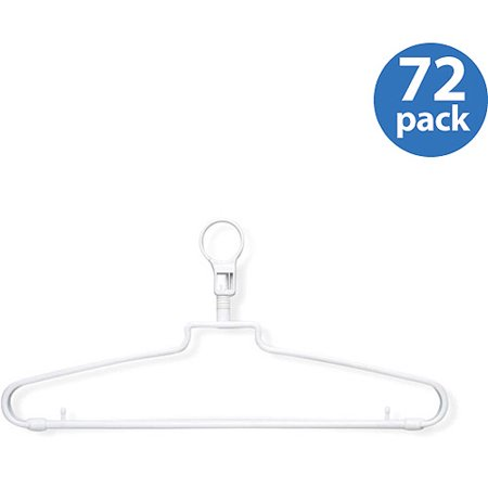 Honey Can Do Hotel Hangers with Security Loop, White, 72-Pack
