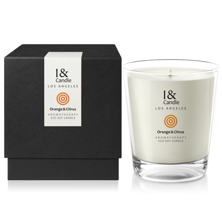 I & CANDLE, ORANGE & CITRUS AROMATHERAPY ECO SOY CANDLE. 10.5 OZ NET WT / 297 G