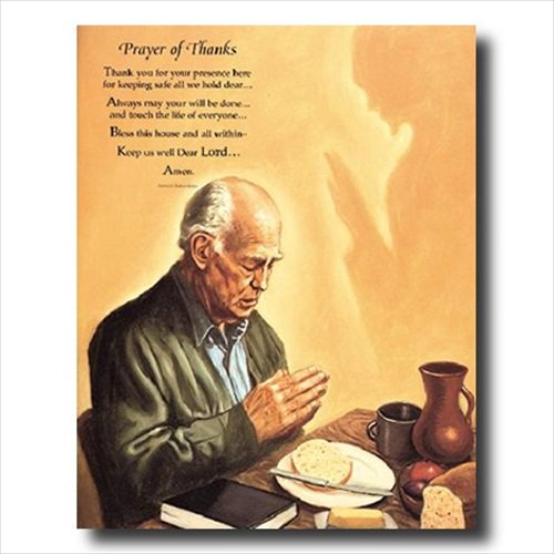 Man Praying At Dinner Table Religious Wall Picture Cherry Framed Art