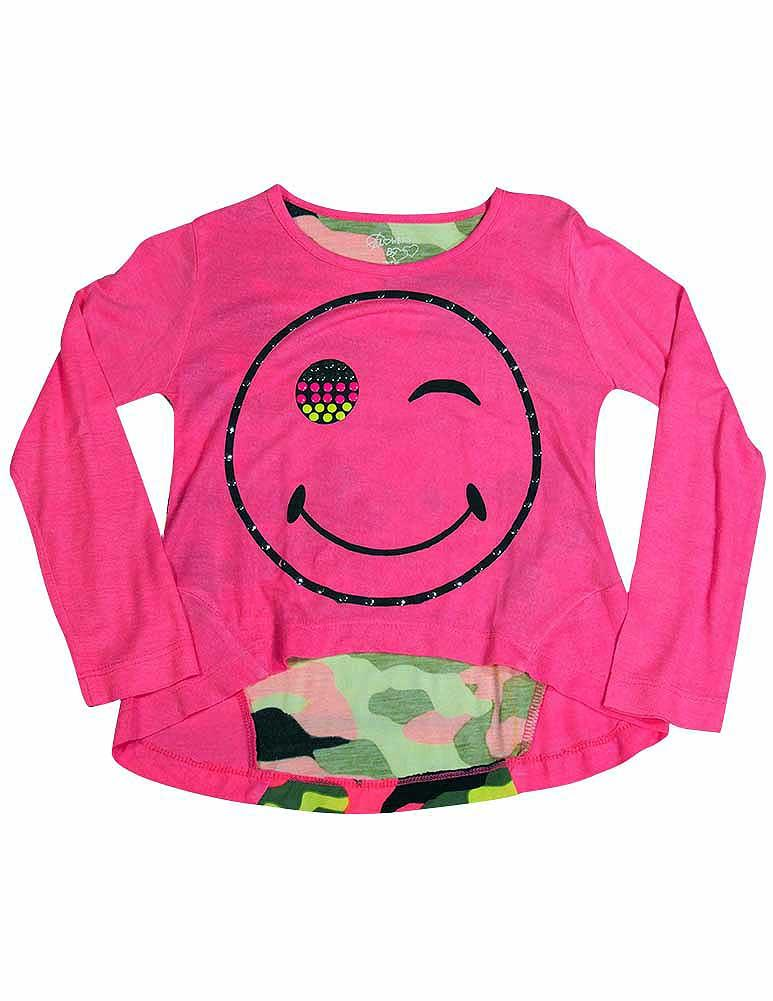 Flowers by Zoe - Little Girls Long Sleeve Top - Choose from 8 Styles and Colors Neon Pink Winkie / 3T