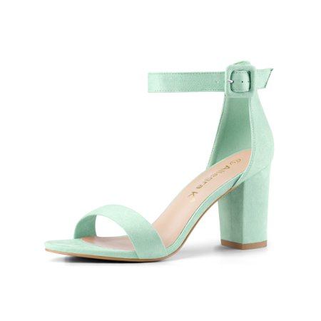 284H Woman Open Toe Chunky High Heel Ankle Strap Sandals Light Green/US