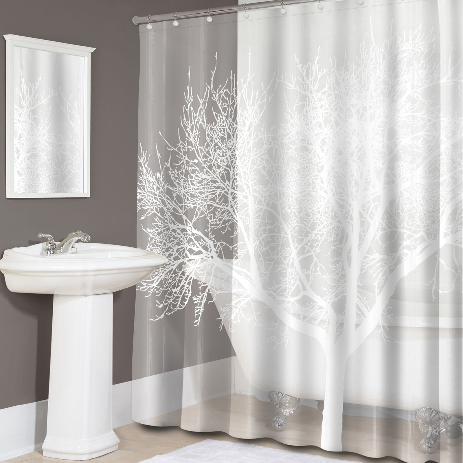 Sweet Home Collection Tree Print EVA PEVA Shower Curtain Pearl