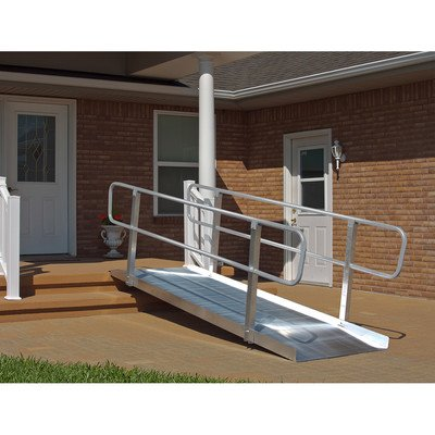 6-ft x 36-in Solid with Handrails Wheelchair Ramp 850 lb. Weight Capacity, Maximum 12-in Rise
