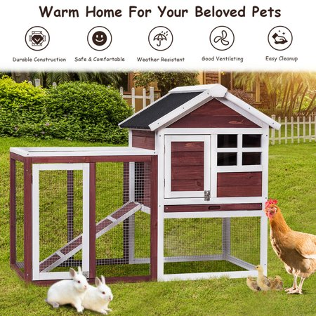 Gymax Wooden Rabbit Hutch Chicken Coop Poultry Cage Hen Duck House Pet Run