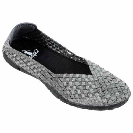 corkys sidewalk women's elastic ballerina flat shoes, pewter - 8