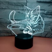 3D LED Kitty Cat Touch Sensor Lamp with USB 7 Color Change Night Light for Desk, Kids Bedroom Decor, Girls, Gift Holiday
